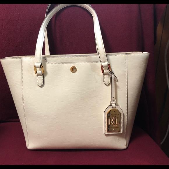 5a5379044de Ralph Lauren Bags   Lauren White Leather Tote Bag   Poshmark